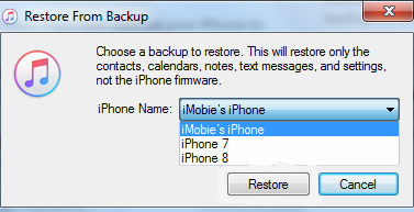 Restore iPhone From iTunes From Different Backup Files